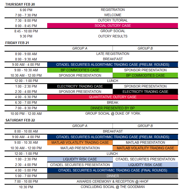 Rotman Interacive Trading Competition 2020 preliminary schedule